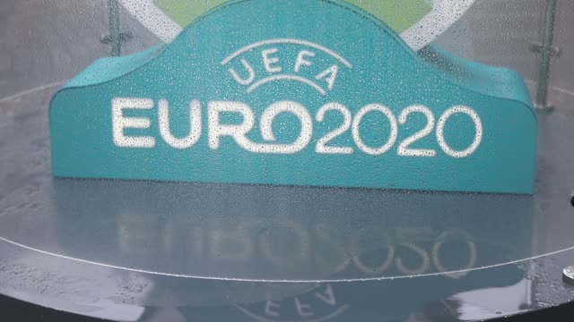 logo of uefa euro 2020 is seen at a countdown clock to the tournament in saint petersburg russia on march 16 2020 this summer's european championship... - campionato sportivo video stock e b–roll