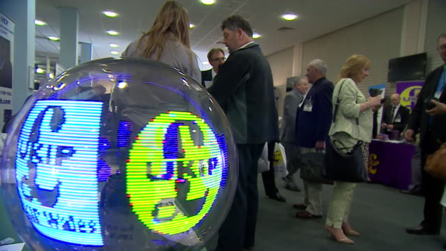 ukip logo on banner and digital spinning orb at ukip party conference in doncaster - 2014 stock videos & royalty-free footage