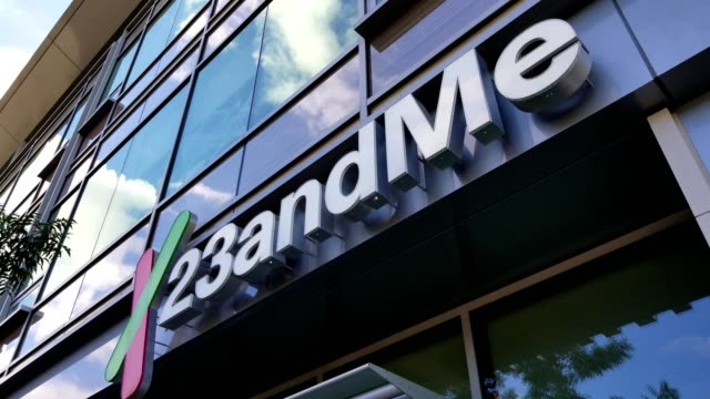 Logo on facade at headquarters of personal genomics company 23AndMe in the Silicon Valley Mountain View California October 2018