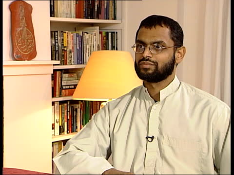 logo on screen moazzam begg interview sot - they said you can't go any further, you could be sitting here for years, you could face a summary trial,... - moazzam begg stock videos & royalty-free footage
