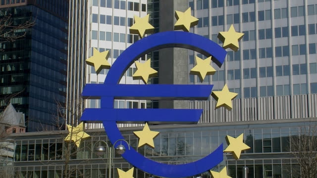 ms logo outside european central bank building / frankfurt, hessen, germany - global politics stock videos & royalty-free footage