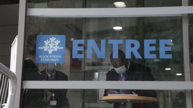 logo pictured at the entrance of a family allowance fund state office on september 30, 2020 in versailles, france. french minister of health has... - beneficiary stock videos & royalty-free footage