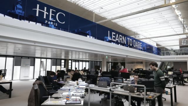 vídeos de stock, filmes e b-roll de hec logo seen at station f world s biggest startup campus on march 5 2020 in paris france - classified ad