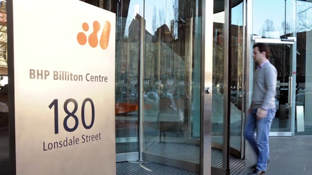 1 a logo sits on display ahead of bhp billiton plc's annual general meeting in london uk on thursday oct 25 2012 photographer simon dawson/bloomberg2... - annual general meeting stock videos & royalty-free footage