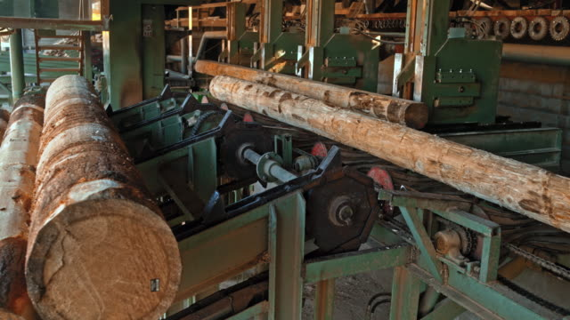 logs going into a vertical saw - lumberyard stock videos and b-roll footage