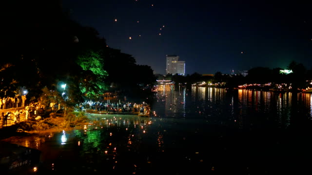 loi krathong and yi peng traditional festival - luck stock videos & royalty-free footage