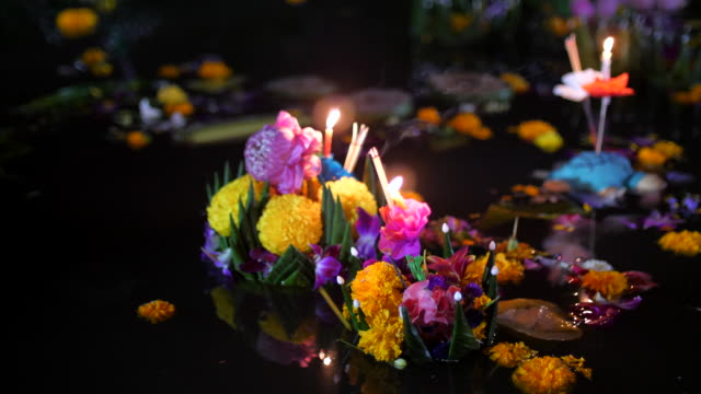 loi krathong  festival ,thailand - floating on water stock videos & royalty-free footage