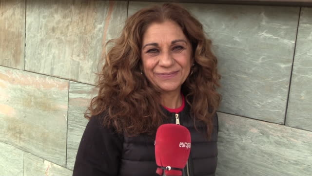lolita flores speak to the cameras outside the hotel and talks about the emotions she was feeling before the event. - western european culture stock videos & royalty-free footage