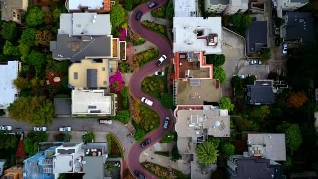 "lombard ""crooked"" street in san francisco - san francisco california stock videos & royalty-free footage"