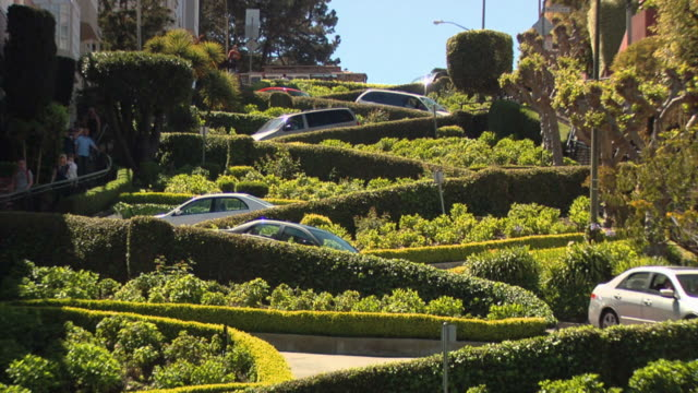 "lombard sreet: san francisco's ""crookedest street"" - tram stock videos & royalty-free footage"