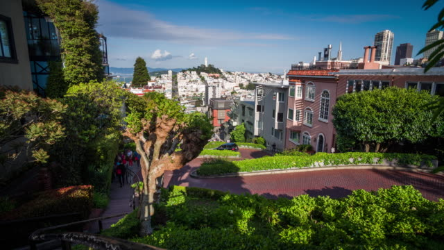 lombard street in san francisco - 4k cityscapes, landscapes & establishers - lombard street san francisco stock videos & royalty-free footage