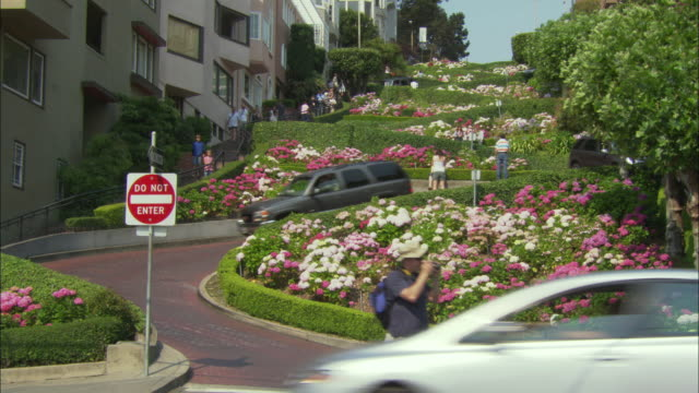 ws lombard street with flowers / san francisco, california, usa - steep stock videos & royalty-free footage