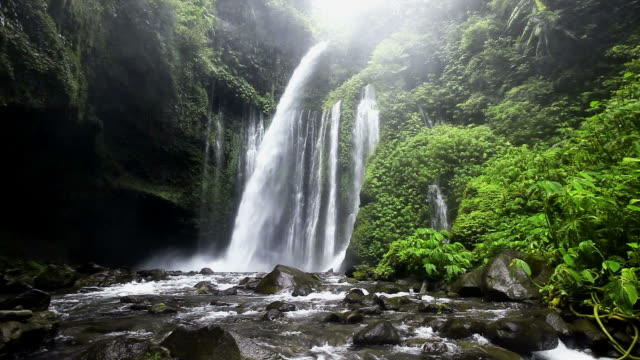 lombok waterfall - spring flowing water stock videos & royalty-free footage