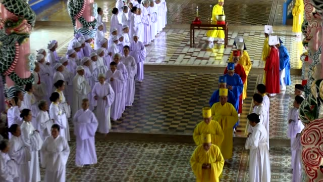 lon shot cao dai religion bishops leaving the mass shot on january 2016 - theology stock videos and b-roll footage