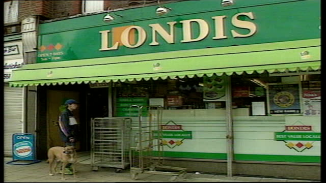 londis shop where winning national lottery ticket was bought england hertfordshire watford ext londis shop / national lottery advertising in window /... - {{asset.href}} stock videos & royalty-free footage