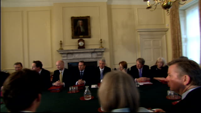 stockvideo's en b-roll-footage met london 10 downing street int david cameron mp opening statement to first cabinet meeting of new coalition government sot this is the first coalition... - william hague