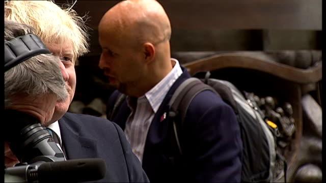 Big Dance 2012 launch / Boris Johnson interview ENGLAND London St Pancras Station PHOTOGRAPHY** Boris Johnson listening / Arlene Phillips onto stage