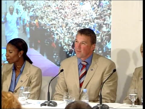 london 2012 olympic bid decision: one day to go; muhammad ali towards arriving at reception hillary clinton speaking to press sot - i think it is... - bid stock videos & royalty-free footage