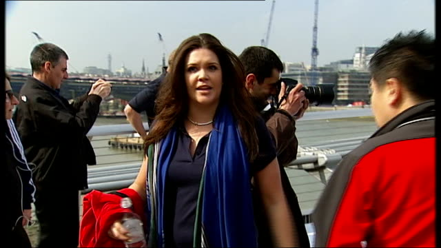 british olympic association want greater cut of profits millennium bridge general view of pr woman organising 2012 olympic mentors after photocall... - greater london stock videos and b-roll footage