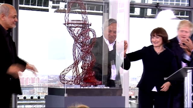 competition to run ArcelorMittal Orbit Tower 3132010 ENGLAND London INT Sculptor Anisk Kapoor London Mayor Boris Johnson and Lakshmi Mittal unveil...