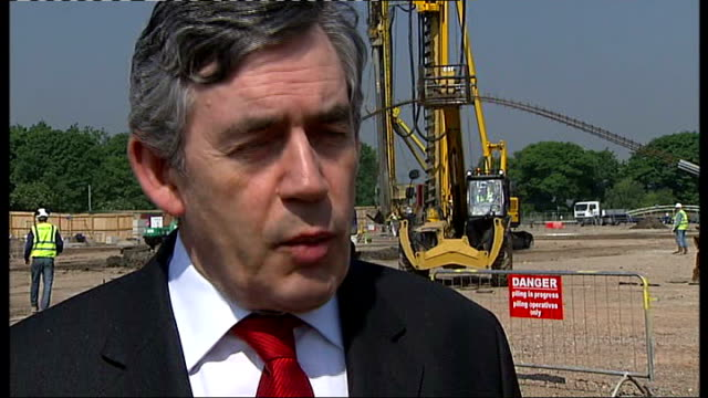 construction begins on olympic stadium gordon brown visit gordon brown mp interview sot it is going to be an amazing facility for local people first... - championships stock videos & royalty-free footage