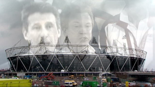 stockvideo's en b-roll-footage met london 2012 olympic games: continuing row between locog and boa; graphicised pictures 2012 olympic games stadium overlaid with images of london 2012... - voorzitter