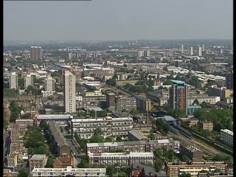 east london skylines and olympic park site england london east london ext general views of east london skyline including distant views of site of... - blocking stock videos and b-roll footage