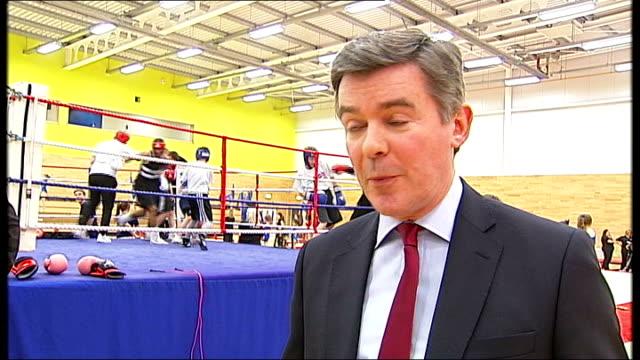 europa gym centre unveiled hugh robertson mp interview sot - キャシー・ニューマン点の映像素材/bロール