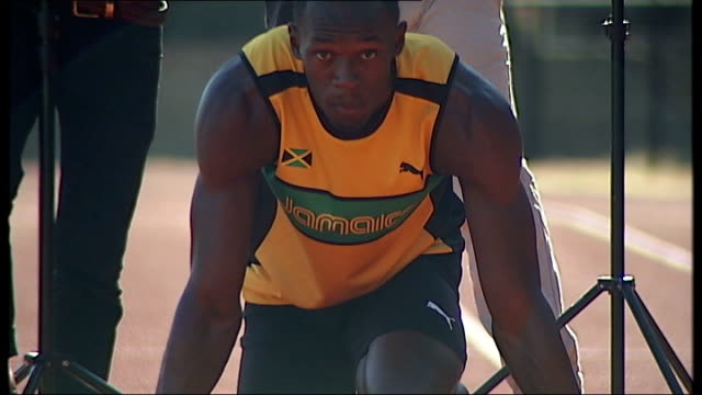 Far more than thought did not get tickets T09061139 ENGLAND London EXT Jamaican sprinter and 100m and 200m world record holder Usain Bolt in blocks...