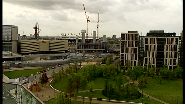 first tenants to move into olympic village this summer england london stratford olympic village ext various shots former olympic athletes village... - summer olympic games stock videos and b-roll footage