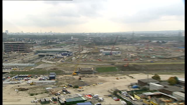government bails out olympic village england london ext olympic village construction site mechanical diggers working on building site - bail cricket stump stock videos & royalty-free footage