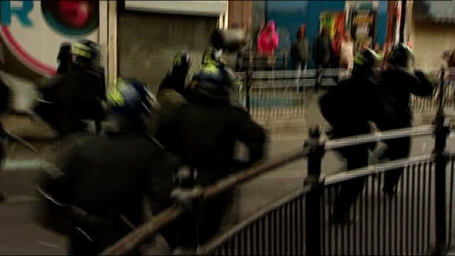 london 2012 olympic games: government launches campaign to improve image of britain abroad; tx 9.8.2011 hackney: ext various shots rioters and riot... - hackney stock videos & royalty-free footage