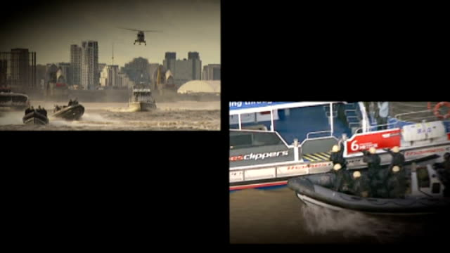 london 2012 olympic games: house of commons report predicts the games will go over budget; r19011208 split screen royal navy helicopter flying over... - 英国海兵隊点の映像素材/bロール