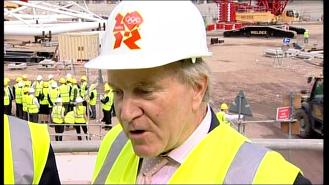 london 2012 olympic games: ioc begin 3 day visit to olympic site; england: london: int denis oswald interview sot - co ordination stock videos & royalty-free footage