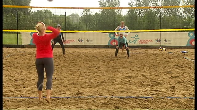 launch of tickets for 'test' events england somerset university of bath ext rain falling on tarpaulin as hopefuls for british women's beach... - beach volleyball stock videos & royalty-free footage