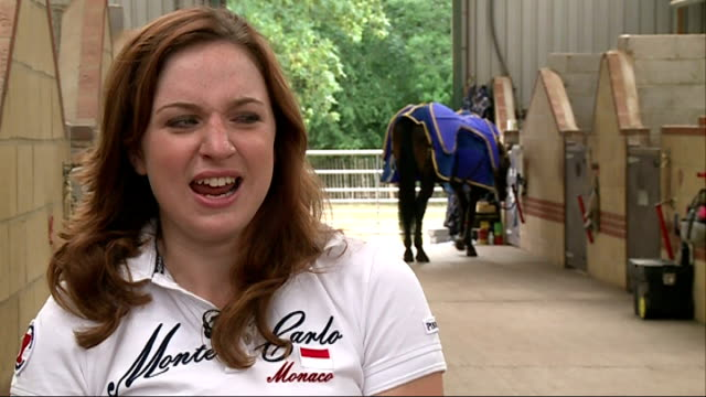 london 2012 olympic games legacy one year on natasha baker natasha and horse trotting round paddock natasha baker interview sot coming home with two... - horse blanket stock videos & royalty-free footage