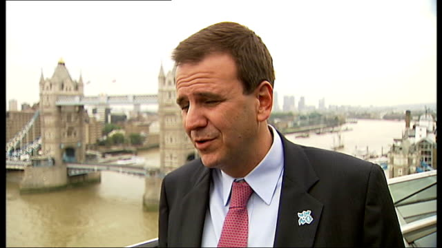 mayor of rio de janeiro visits london olympic site england london city hall ext eduardo paes interview sot not worried about death before the olympic... - olympic rings stock videos & royalty-free footage