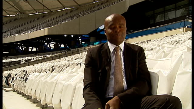 london 2012 olympic games: medals hopes for british athletes; ext reporter to camera - kriss akabusi stock videos & royalty-free footage