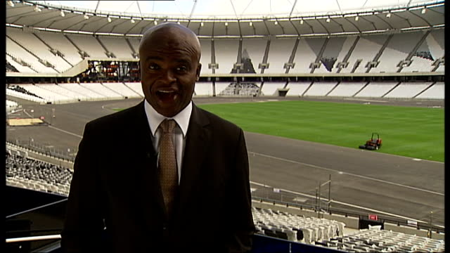 london 2012 olympic games: medals hopes for british athletes; england:london: olympic stadium: ext reporter to camera akabusi standing at centre of... - kriss akabusi stock videos & royalty-free footage