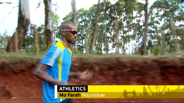 london 2012 olympic games: medals hopes for british athletes; tx kenya: great rift valley: iten: mo farah jogging on training session with graphic... - kriss akabusi stock videos & royalty-free footage
