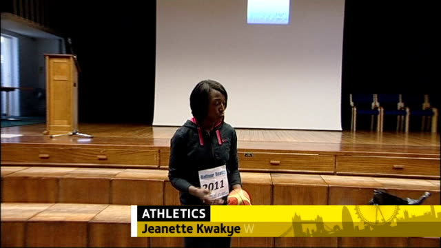 london 2012 olympic games: medals hopes for british athletes; tx 2.12.2011 england: london: leytonstone: connaught school: int jeanett kwakye meeting... - kriss akabusi stock videos & royalty-free footage