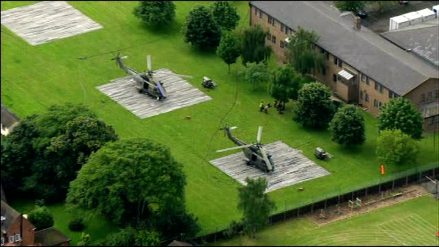 More soldiers drafted in as security contractor fails to recruit enough staff London Ilford Military helicopters parked on temporary helipads RAF...