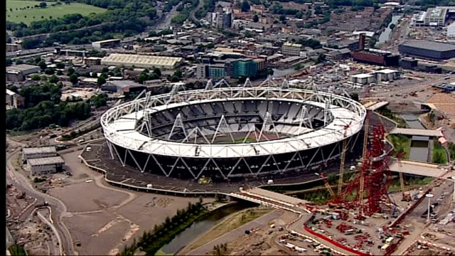 One year to go Air views of Olympic Park AIR VIEW / AERIALS of the Olympic Stadium with the giant sculpture the ArcelorMittal Orbit under...