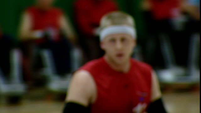 stockvideo's en b-roll-footage met paralympics international paralympic day 792011 wales cardiff int shots international wheelchair rugby match in progress ryley batt tackling other... - rugby sport