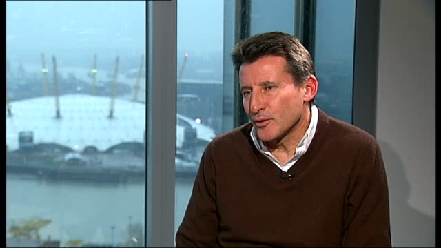vídeos de stock, filmes e b-roll de london 2012 olympic games: problems still to be resolved; england: london: int lord coe interview sot - on whether or not he is worried about... - sebastian coe