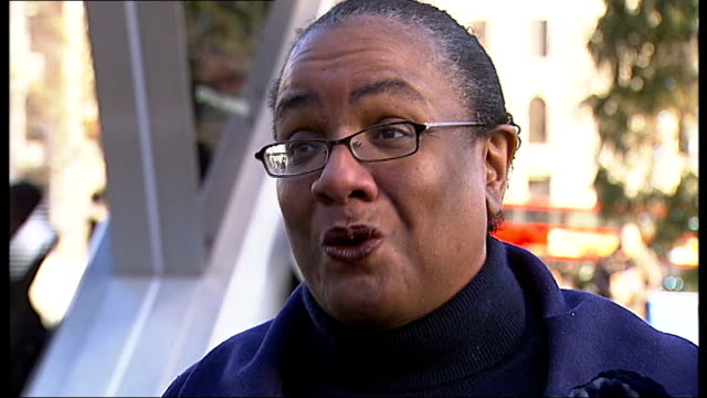 london 2012 olympic games: questions raised of benefit for londoners; ext diane abbott mp interview sot - olympic park is like something from star... - vox populi stock-videos und b-roll-filmmaterial
