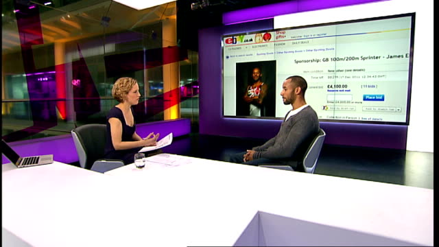sprinter who put himself on ebay finds sponsor t07121127 james ellington live studio interview with cathy newman - cathy newman stock-videos und b-roll-filmmaterial