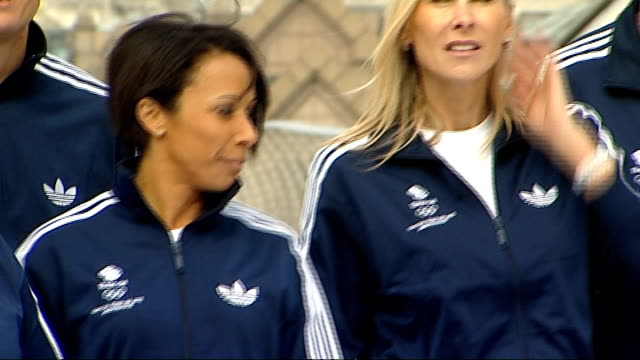 london 2012 olympic games: team gb olympic ambassadors; england: london: millennium bridge: ext various shots of former british olympic gold medal... - kriss akabusi stock videos & royalty-free footage