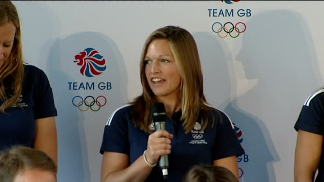 team gb sailing team press conference hannah mills press conferenece sot on what inspired her to start sailing annie lush press conference sot on... - sailing team stock videos & royalty-free footage
