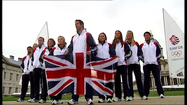 team gb sailing team unveiled england london greenwich ext various shots of team gb sailing posing for press photocall with union jackflag ben... - sailing team stock videos & royalty-free footage